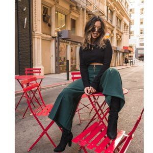 Topshop Wide Leg Culottes Crop Pant Forest Green 2